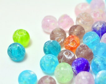 8mm Round Shape - Luminous Lampwork Beads Mix-40pcs
