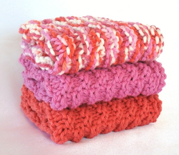 Knit Dishcloths Cotton Knitted Dishcloth Knit Washcloth Facial Spa Cloths - Set of 3