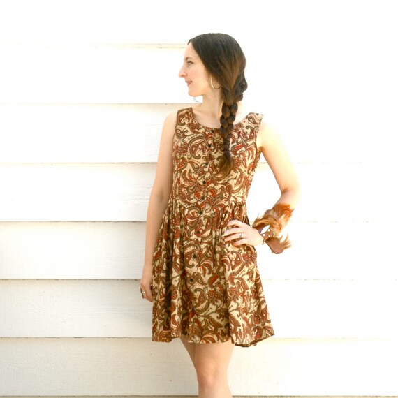Boho Dress...  100% Cotton... Paisley Print... INDIAN SUMMER (m)