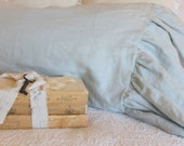 The Mirabelle Linen Collection Ruffle Pillowcase in French Blue