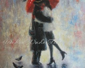 Kiss After Work Art Print, lovers in rain wall art, kissing in the rain paintings, couples kissing red umbrella wall decor Vickie Wade