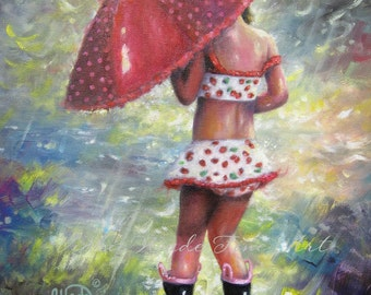 Rain Girl ORIGINAL Painting, 12X16 children's wall art, girls room art, red umbrella, swim suit, little girl splashing rain, Vickie Wade Art