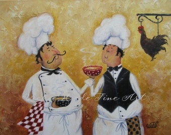 Fat Chefs Art Print, chef paintings, art, kitchen art wall decor, waiters, cooks, Chicken Soup Chefs chicken soup art, Vickie Wade Art