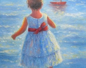 Little Beach Girl Art Print, beach girl paintings, beach wall decor, blue girls room, childrens wall art, Vickie Wade Art