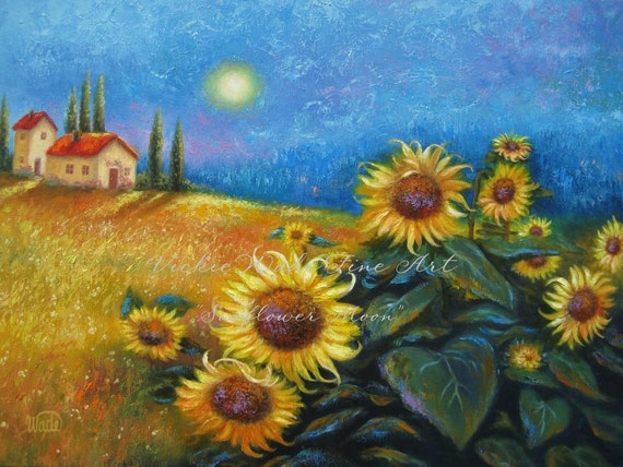 Sunflower Moon 2 Oil Painting Sunflower Paintings Tuscany