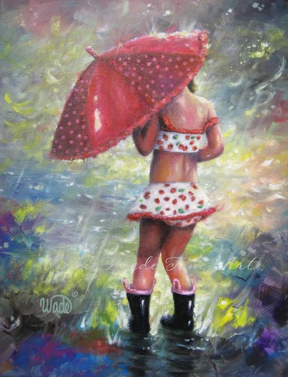 Rain Girl Original Painting, Children's Wall Art, Girls Room, red umbrella, strawberry art, swim suit, splashing puddles, Vickie Wade art