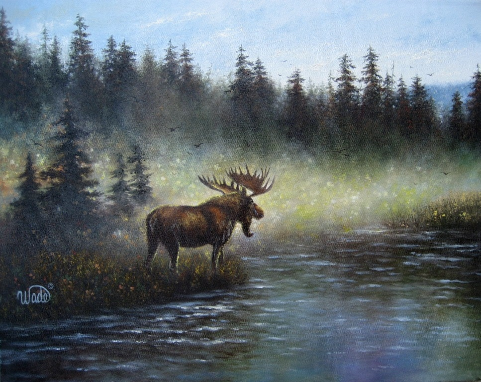 Majestic Moose Oil Painting Art Moose on A Frame House