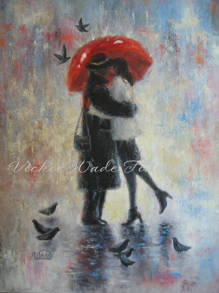 Kiss After Work Art Print Lovers In Rain Wall Art Kissing In