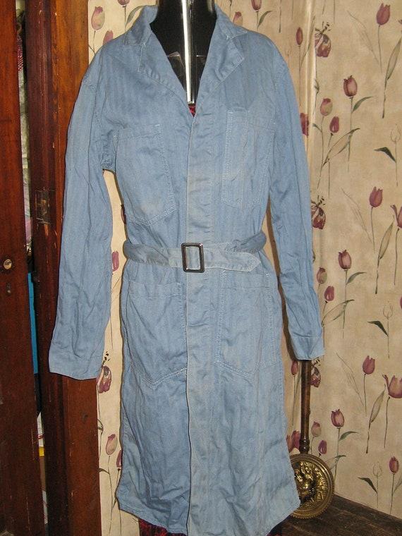 vintage 1940s Calco herringbone   Denim  INDUSTRIAL Railroad  ENGINEER  Mechanic  coat  sz 36