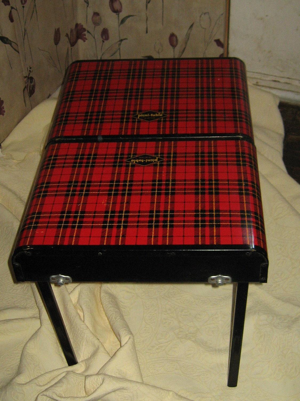 1950s Fold Up Tin Scotch Plaid Picnic Basket Table