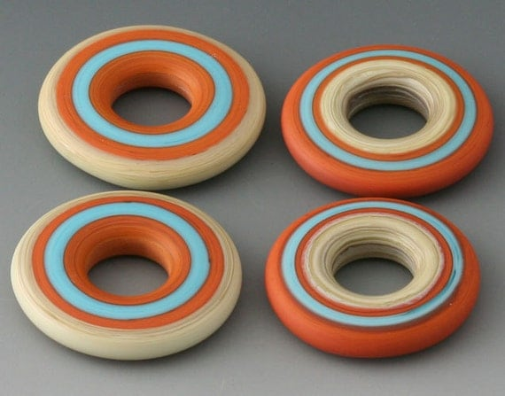 FIRST FRIDAY SALE - Southwest Discs - (4) Handmade Lampwork Glass Beads - Red Tile, Turquoise - Etched, Matte