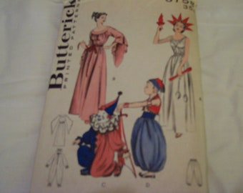 vintage butterwick printed pattern for costumes from the fifties