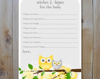 Owl Baby Shower Wishes and Hopes/ Yellow and Grey Owls with flowers  / Instant Download / PRINTABLE / 61157