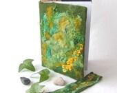 Felted journal notebook cover  Green moss autumn fall  gift under 25