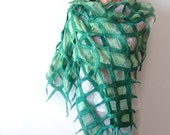 Nuno felted scarf -  green net