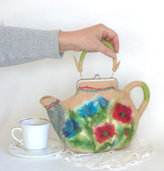 Felted purse teapot Cream wild flowers red poppy blue
