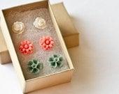 3 Flower Earring Sets - Floral Earrings, Pink Peach Dahlia, Grey Green Flower, White Rose Earrings, Girl Christmas Gift