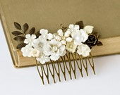 Bridal Hair Comb, Wedding Hair Accessory, Something Old Vintage Hair Comb Bridal Head Piece, Autumn Fall Shabby Chic Black Friday
