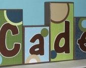 Personalized - Custom Baby Name Letters Room Decor - M2M JoJo's Designer Dots for Boy - Baby Letter Blocks