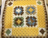 Doll size, Crochet Granny Square Throw Afghan in creamy yellow, blue, light browns & soft-white