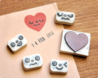 Hand carved Romantic heart face change rubber stamps set of 5