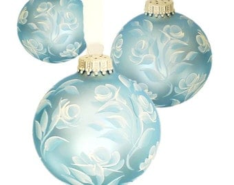 Hand Painted Christmas Ornaments, Set of 3 Blue and White Roses, White Ribbon, Set of 3 - Stocking Stuffer Hostess Gift