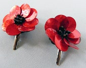Hair Clips Mother of Pearl Red Floral Style Hair Clips
