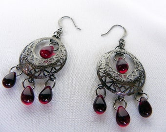Earrings Neo-Victorian Metals Steampunk Hematite Earrings with Deep Red Glass Teardrops Now On Sale!