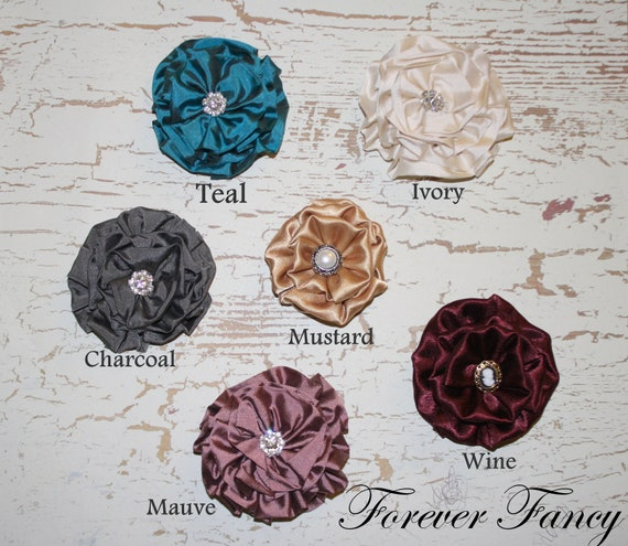 Luxe Ruffled Rosette Flower clips M2M Persnickety Fall Matilda Jane Character Counts