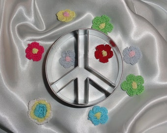 Peace Sign Cookie Cutter Baking Sugar Cookies with Colors from the Rainbow