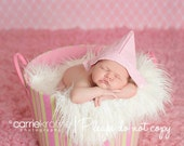 pink newborn girl newspaper style hat  photo prop Ready To Ship