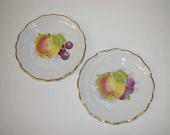 Bavaria Wall Plates, Johann Haviland, Germany, Fruit Design, Kitchen Accent, Vintage 1970's 1980's