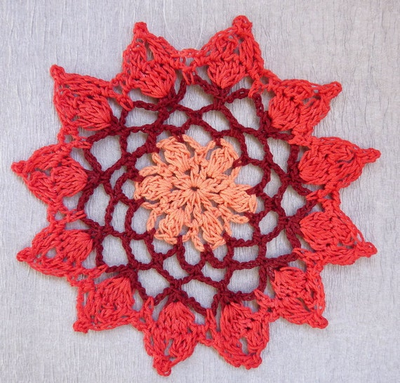 Doily hanger, lace crochet suncatcher, crochet mandala in red, coral and peach colors, beaded