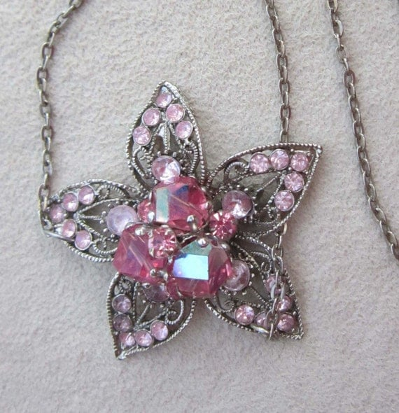 Repurposed PINK RHINESTONE FLOWER Necklace, with Pink Crystals, Fancy Silvertone Metal, From Brooch & Earring, 17 Inch