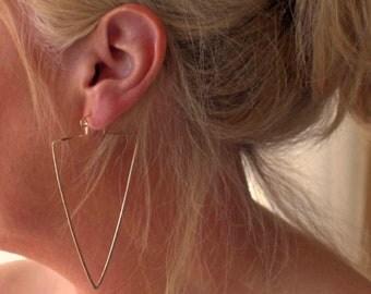 Big Triangle Hoop Earrings, Large Rose Hoops, Geometric Earrings, Geometric Jewelry, Boho Jewelry, Boho Earrings, Trending Hoop Earrings