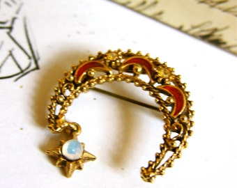 1970s Florenza Brooch Crescent Moon Star 24K Gold Plated Red Enamel Opalite Clear Chaton Rhinestones Gorgeous Renaissance Revival Love Token