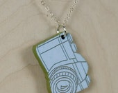 Mini SLR Camera Necklace- Laser Cut, Hand Painted with Sterling Silver Chain