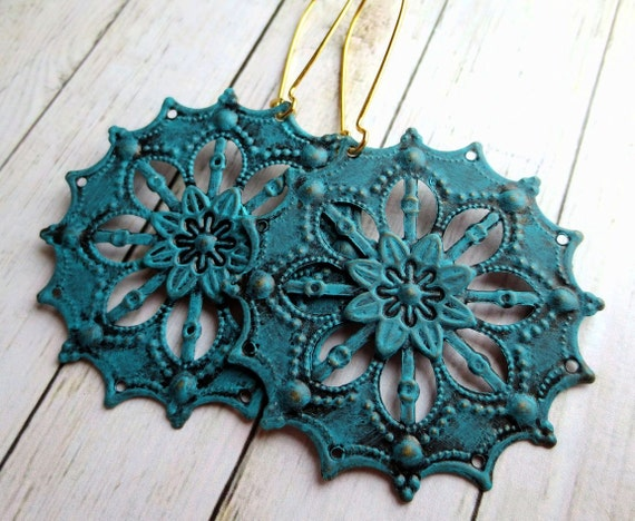 Turquoise earrings, hand painted, kidney ear wires, boho chic.