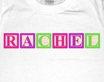 Personalized Baby Blocks Shirt or Bodysuit  -  personalized with ANY name