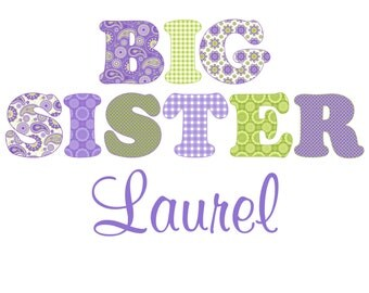 Adorable Green & Purple Big Sister Shirt - Personalized with ANY name