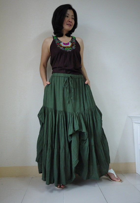 Meet You There... Steampunk Funky Dark Green Light Cotton Ruching Tiered Maxi Skirt