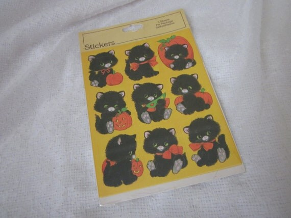 Super Cute Kitten Vintage Halloween Black Cat Stickers Black and Orange 3 Sheets