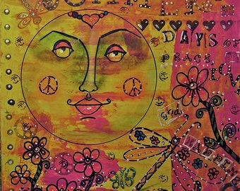 Psychedelic Hippie Art, Psychedelic Summer Days, Mixed Media Hippie Art, Hippie Art Original, Hippie Art Poster