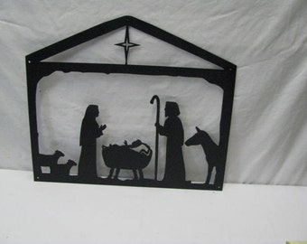 Christmas Nativity  Scene Metal Wall Yard Art