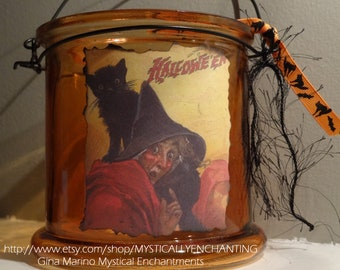 SALE Halloween Lantern Witch and Black Cat Vintage style