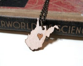 West Virginia Love Necklace - Birch and Alder Wood WV Heart Pride