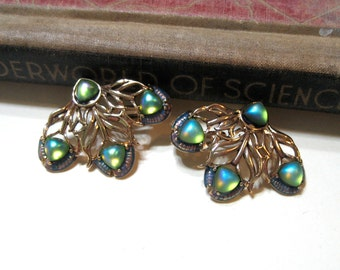 Vintage Peacock Feather Clip On Earrings - New Old Stock