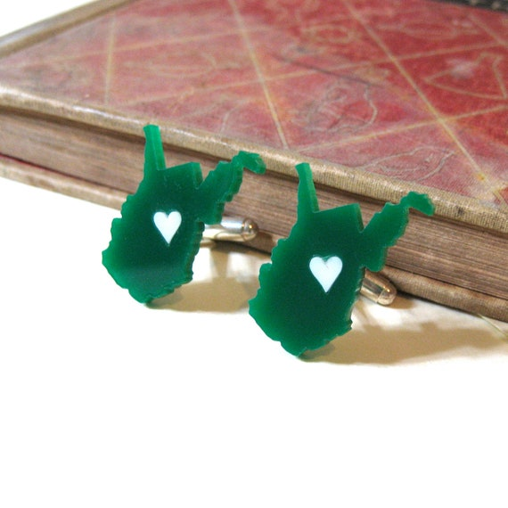 West Virginia Pride Cuff Links - Green and White
