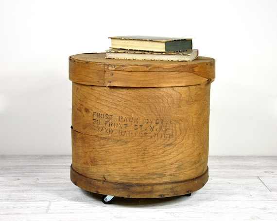 Vintage Wood Storage Box on Casters / Industrial Decor