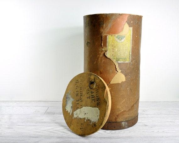 RESERVED /// Vintage Industrial Drum Storage Box / Industrial Storage